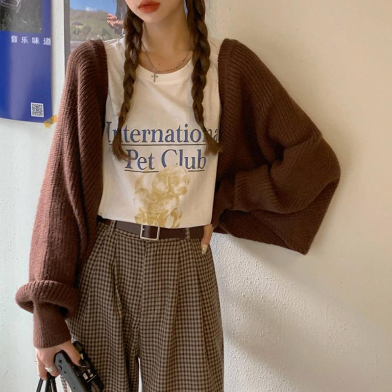 가을 디자인 감각 절반 컷 오픈 뒷면 접힌 긴 소매 스웨터 여성 느슨한 캐주얼 니트 카디건 트렌드 여성 니트 티셔츠