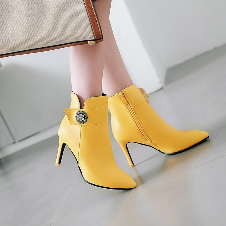 Boots Plus Size 11-17 Women Shoes Ankle For Ladies Hydraulic Drill Side Zipper