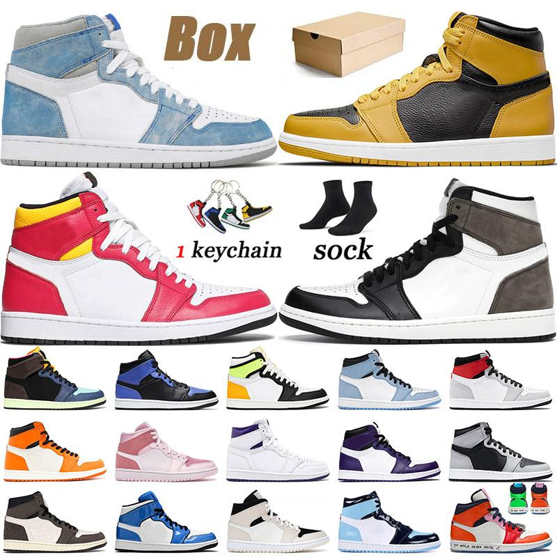 With Box 2021 Jumpman 1 1s Basketball Shoes Hyper Royal Pollen High Dark Mocha Light Fusion Red UNC Obsidian Twist Mens Womens Trainers Sneakers 36-46