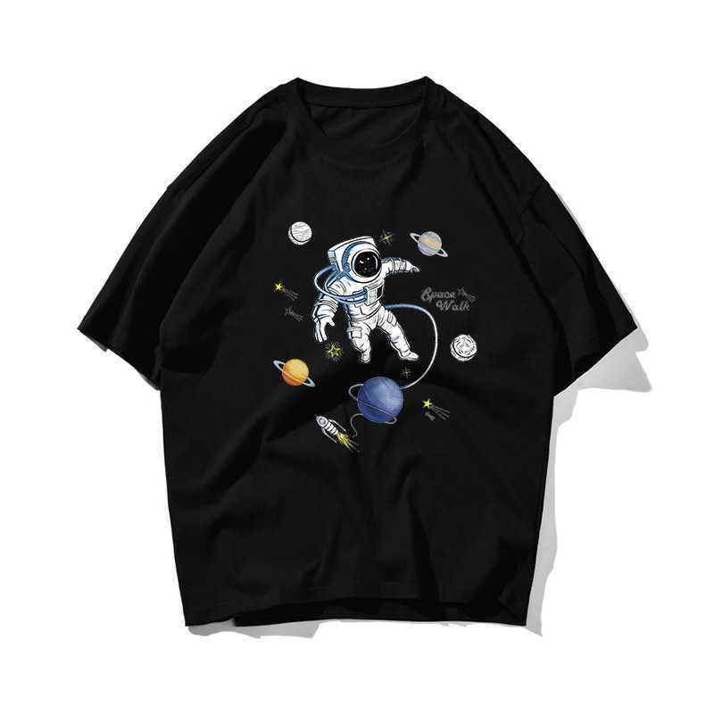 Astronaut Univers Hip Hop Oversize T-shirt Männer Streetwear Tshirt Kurzarm Baumwolle Lose Hiphop T-Shirt Paar Sommer 210603