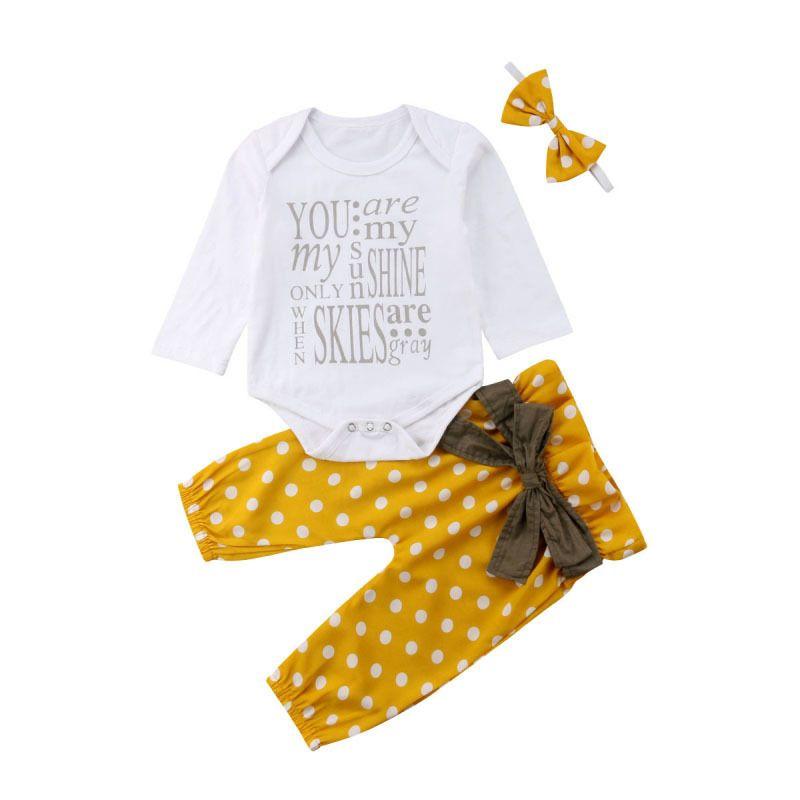 Emmababy Yenidoğan Bebek Kız Pamuk Uzun Kollu Romper Dot Ilmek Tops Tops Pantolon + Kafa 3 adet Kıyafetler Çocuklar Sonbahar Giysileri 2382 V2