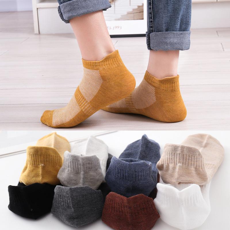 calcetines de malla casual delgado color puro barco de algodón sudor wiing sos masculino