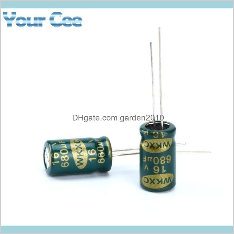 Capacitors Passive Components Electronic Office & School Business Industrial Wholesale-20 Pcs Electrolytic High Frequency 16V 680Uf Al