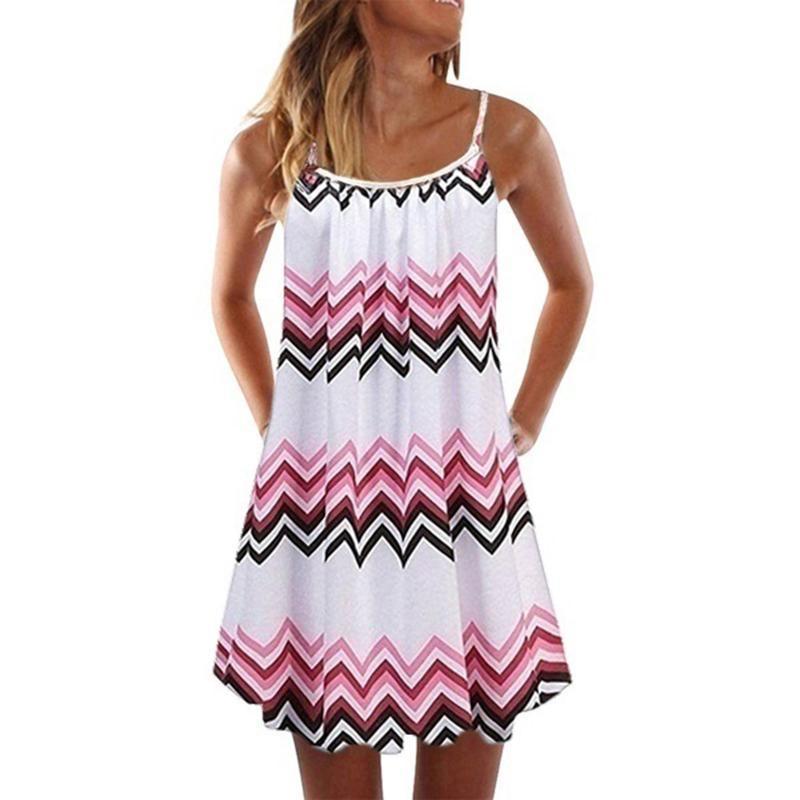 여성 드레스 여름 2021 Pleated 인쇄 여성 드레스 스파게티 미니 의류 민소매 비치 파티 캐주얼