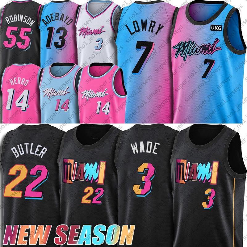 Miami Heat Jimmy Tyler Butler Herro Jersey Dwyane Dwayne Wade Jerseys Goran BAM Dragic Adebayo Basketball Jersey Kendrick Robinson Nunn Trikots