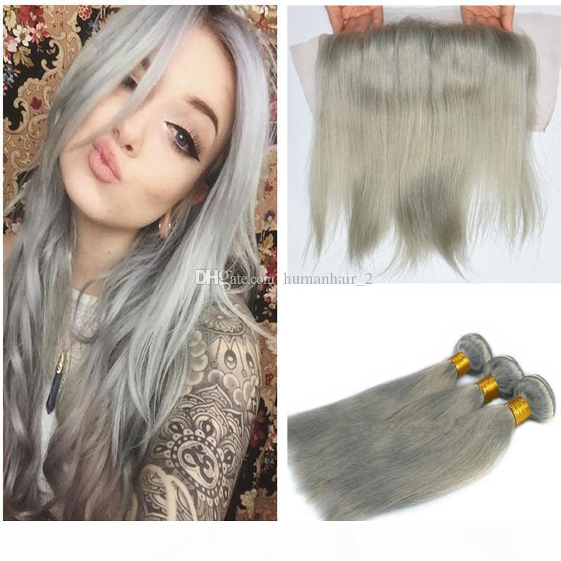 Cheveux humains gris avec dentelle fermeture frontale Sliver Gris EXTENDUES DE CHEVEUX DROITS AVEC LA DACE FRONTAL 8A GRATURE PERUVIAN VERGÉ VERGÉE AVEC FERMETURE