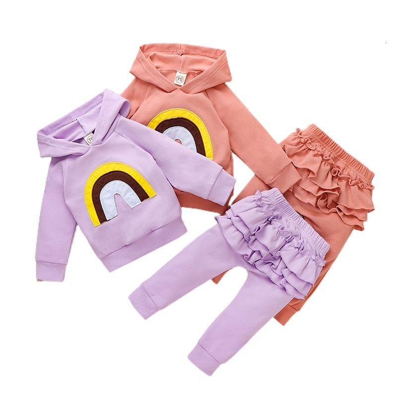 의류 세트 봄 유아 태어난 아기 소녀 옷 자수 후드 스웨터 바지 2pcs 복장 코튼 트랙 슈트 세트 E20891 685N