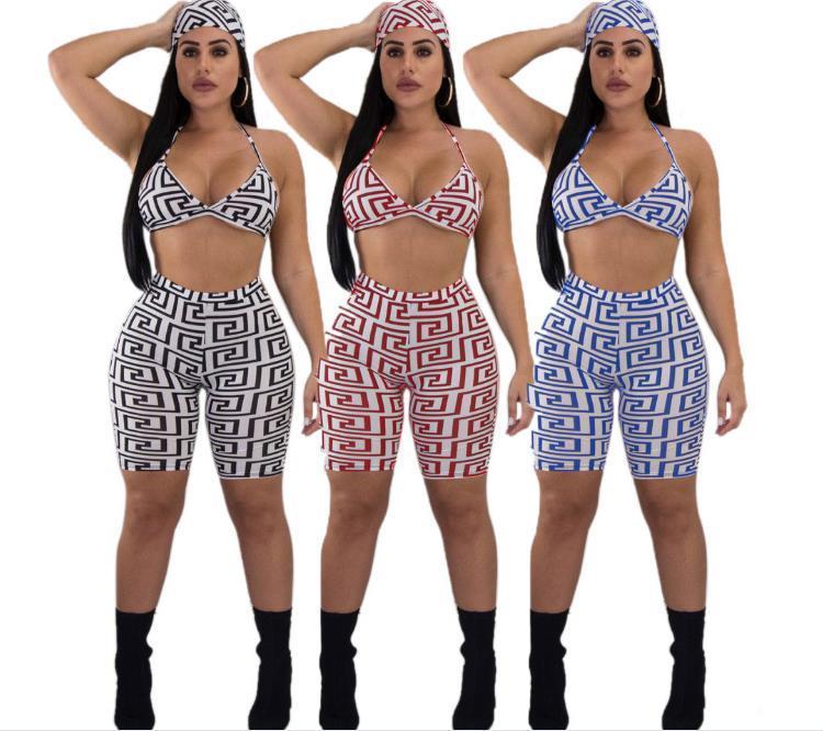 Kgfigu النساء قطعتين يتسابق الصيف المحاصيل الأعلى والسراويل مجموعات مثير بلا أكمام طباعة المرأة ملابس نادي مطابقة مجموعات