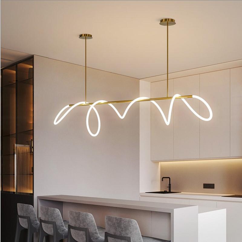 북유럽 미니멀리스트 샹들리에 포스트 - 현대적인 럭셔리 간단한 긴 라인 디자인 교수형 램프 거실 다이닝 룸 홈 장식 조명 샹들리에