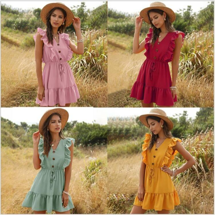 Cross-border European and American style women's dress 2021 summer wish new yellow V-neck ruffled bubble lace-up dress