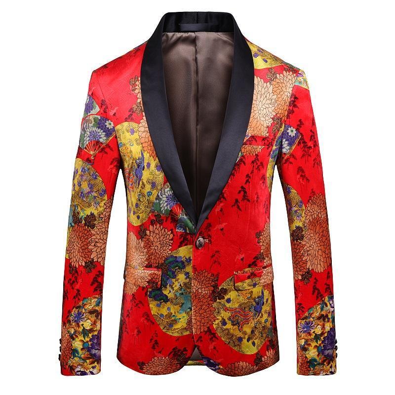 Stampa digitale da uomo abiti da uomo manica lunga stage performance vestiti in stile cinese giacca blazer due bottoni plus size cappotto abiti blazer