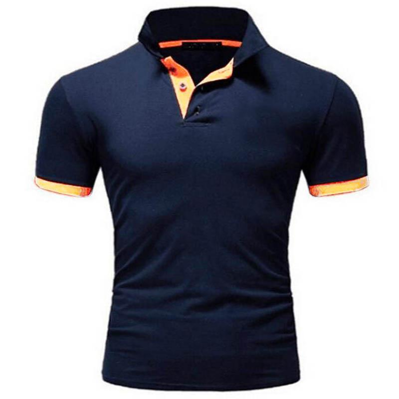 Hommes Polo Shirt Summer manches courtes Roll Collier Slim Tops T-shirts pour Mens Casual Casual Solid Color Business