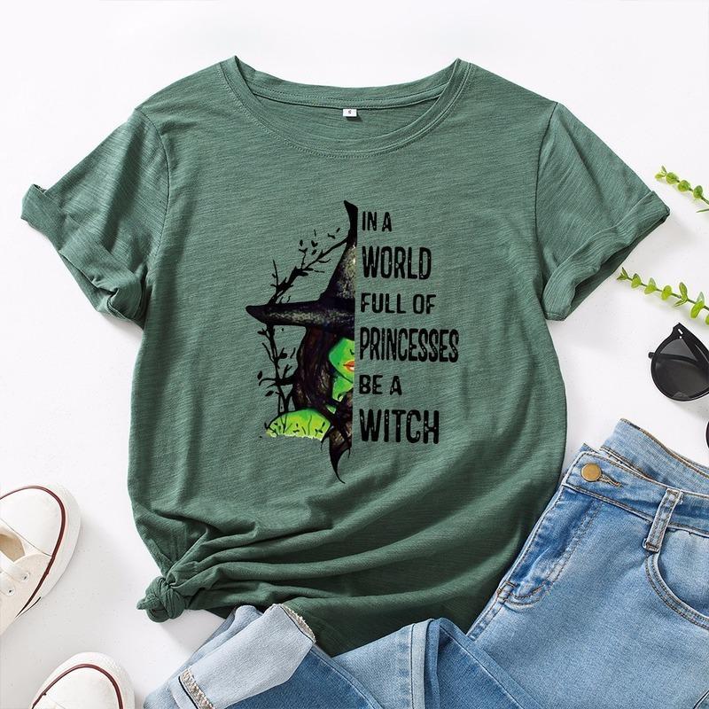 JCGO Fashion Sommer T-shirt Frauen Plus Größe 5XL Baumwolle Halloween Hexe Print Weibliche Kurzarm Tshirts Casual Dame Tops T-Stück 210421