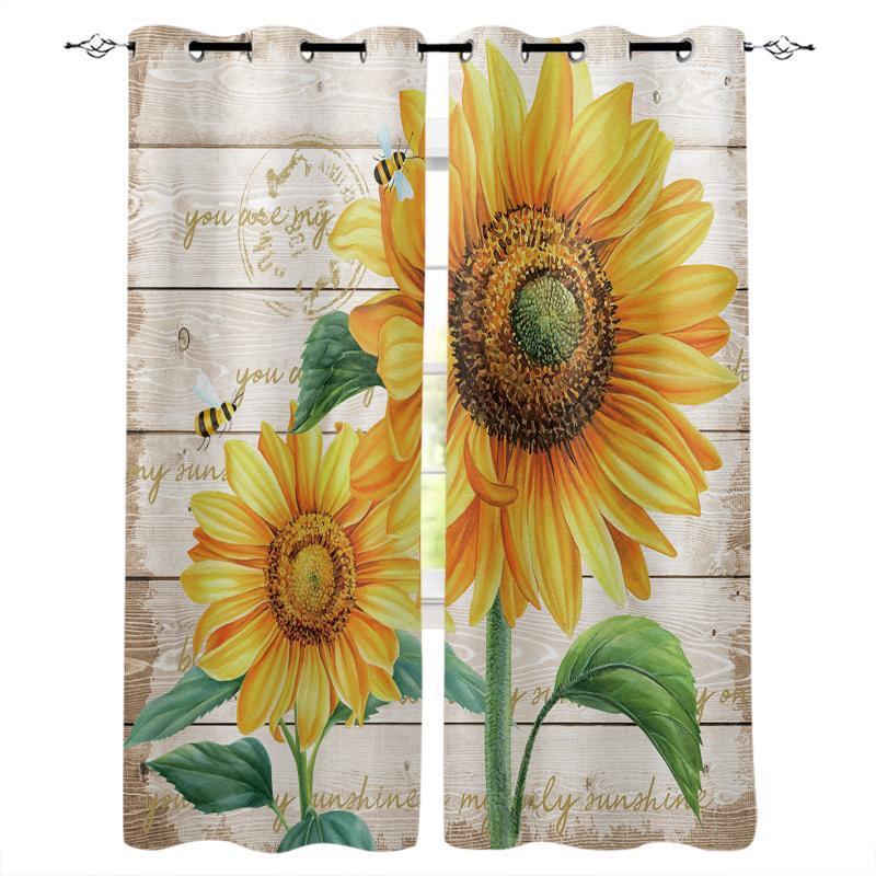 Vorhangvorhänge Farm Blume Sonnenblume Bienefenster Schlafzimmer Blackout Vorhänge Modern Wohnzimmer Boden