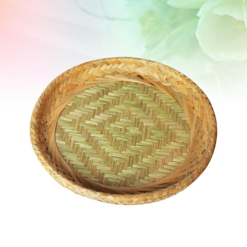 Bambus gewebt Lagerkorb Platte Halterbehälter für Fruchtsüßigkeiten (Kleine Größe) Körbe