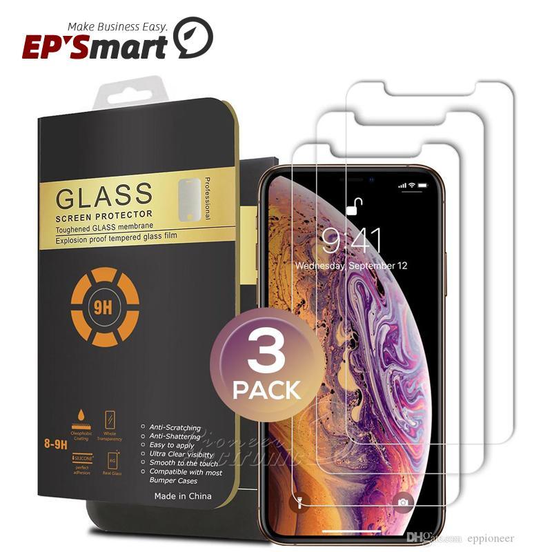 حامي الشاشة الزجاجي 3 حزم آيفون 12 ميني 11 برو XR XS ماكس 7 8 8 زائد 5.8 6.1 6.5 بوصة خفف 0.26 ملليمتر 2.5D جولة الحافة