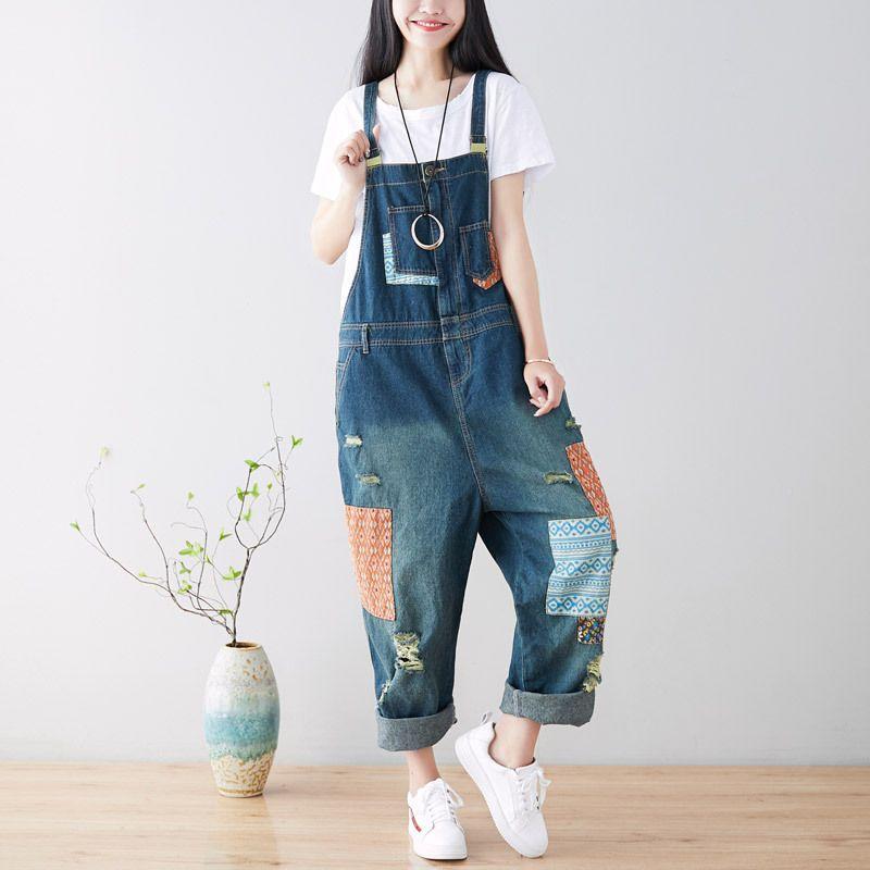 Frühling Frauen Vintage Print Jeans Jumpsuit Casual Lose Riss Denim Overalls Frauen Einstellbar Strap Elegante Jumpsuit Streetwear