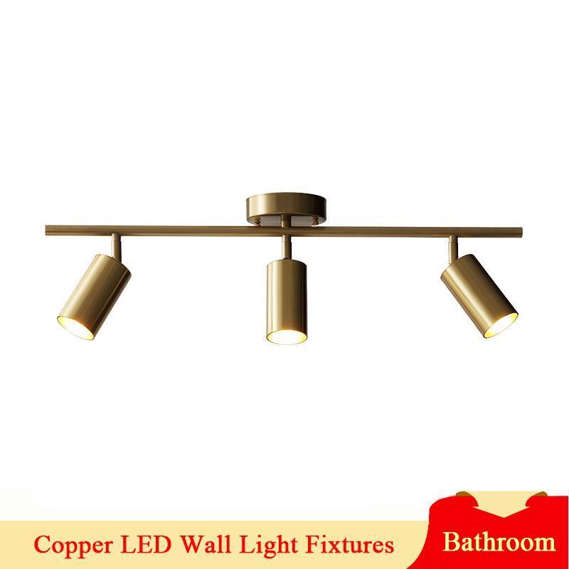 화장실에 대 한 현대 LED 미러 조명 화장 화장품 캐비닛 골드 구리 욕실 편의 시설 벽 램프 실내 조명 220V 램프
