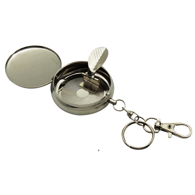 Chaveiro Portátil Cinzeiro Ao Ar Livre Gadgets 5 * 1.7cm Moda Bolso Aço Inoxidável Aço Inoxidável Cinzas De Cigarro Com Chaveiros Presente De Festa OWF8700