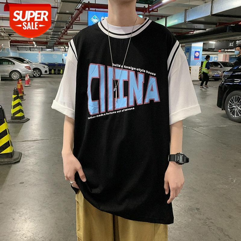 Fake zwei kurzärmlige T-Shirts Männer Sommer Japanische Flut Marke Trend Lose Buchstaben Hip-Hop Fünf-Punkt-Ärmel Basketball-Uniformen com # 0r5v