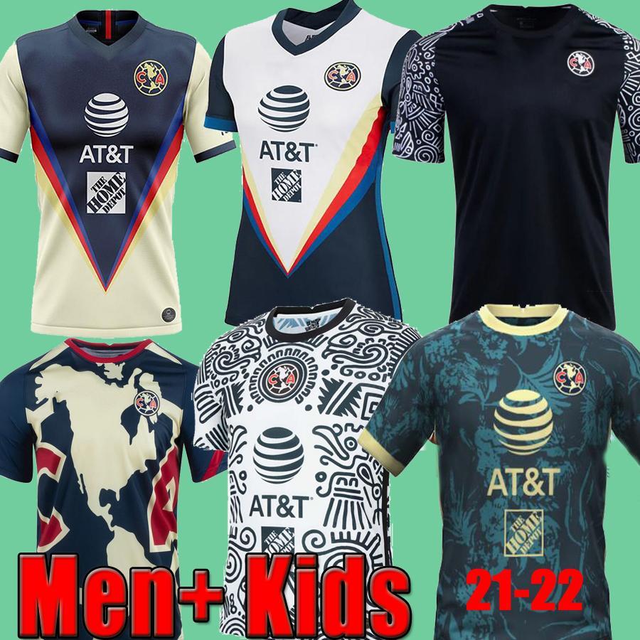 20 21 22 Kulüp Amerika Futbol Formaları Maç Öncesi Eğitim Erkekler + Çocuklar Giovani Benedetti Eve Uzakta Üçüncü Beyaz Kaleci 2021 2022 Camisetas de Fútbol