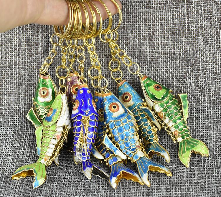 5,5 cm 8,5 cm esmalte de lujo afortunado koi koi keychain vívido columpio animal llavero lindo cloisonne carpa mujeres hombres llavero llavero gracias regalos 120pcs / lot