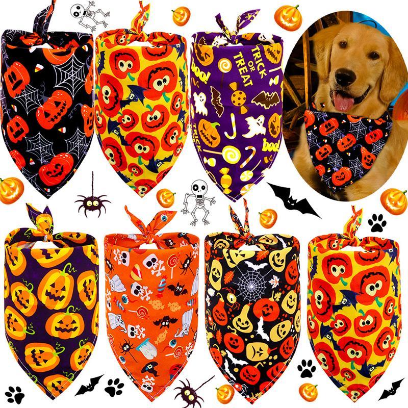 الكلب الملابس البوليستر الكلاب باندانا القط مثلث المرايل جرو وشاح منديل اليقطين الجمجمة نمط هالوين مستلزمات الحيوانات الأليفة XBJK2106