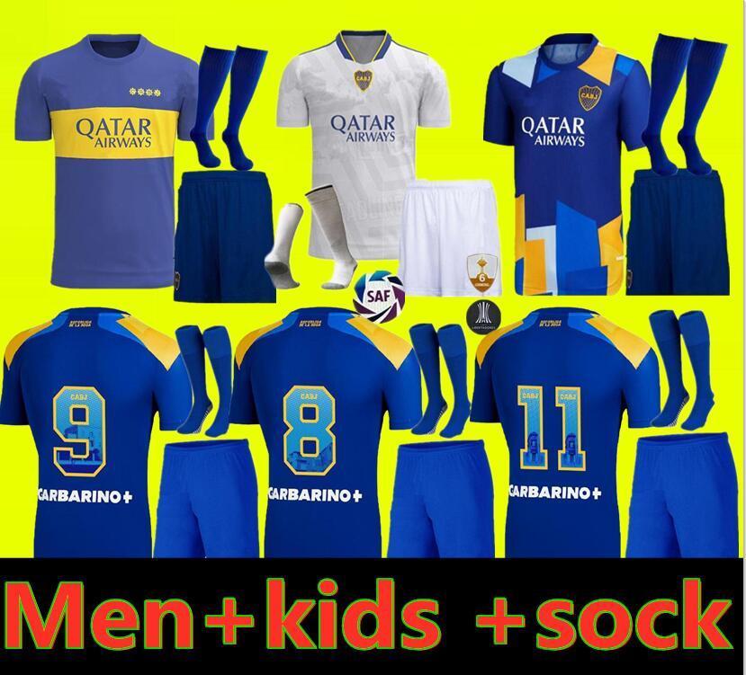 Boca Juniors 축구 유니폼 2021 2022 Carlitos Maradona Tevez de Rossi 21 22 스포츠 축구 성인과 어린이 셔츠 유니폼 홈 세 번째 3RD