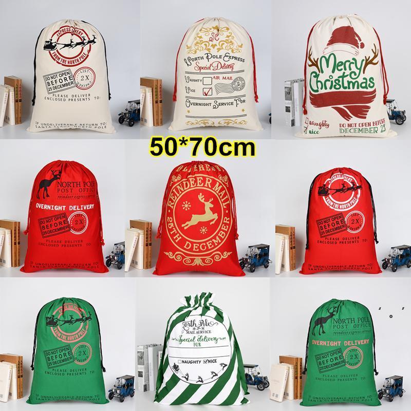 Christmas Halloween Gift Canvas Large Storage Bags Santa Reindeers Drawstring Candy Bag Party Wedding 30 Styles OWB10528