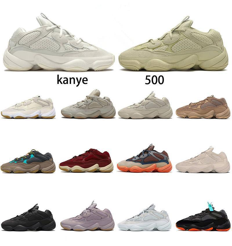 Kanye 500 Mens Shoes Enflame Taupe Light Reflective Bone White Utility Black Super Moon Yellow Blush Women Trainers Sneakers