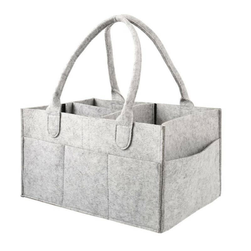 Bebek bezi çanta büyük boy keçe saklama çantası katlanabilir bebek büyük caddy değişen masa organizatör oyuncak sepet araba organizatör
