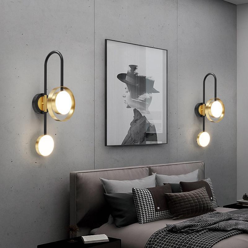 현대 금 벽 램프 LED 침실 침대 옆 거실 TV 통로 크리 에이 티브 연구 독서