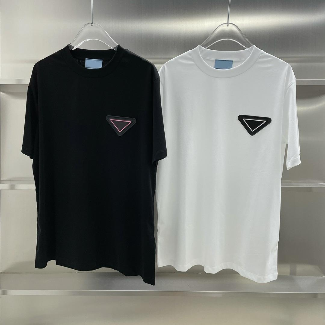 이탈리아에서 만든 21ss 봄 여름 티 하이 거리 삼각형 배지 남성과 여성 짧은 소매 티셔츠 럭셔리 패션 PRD Tshirt
