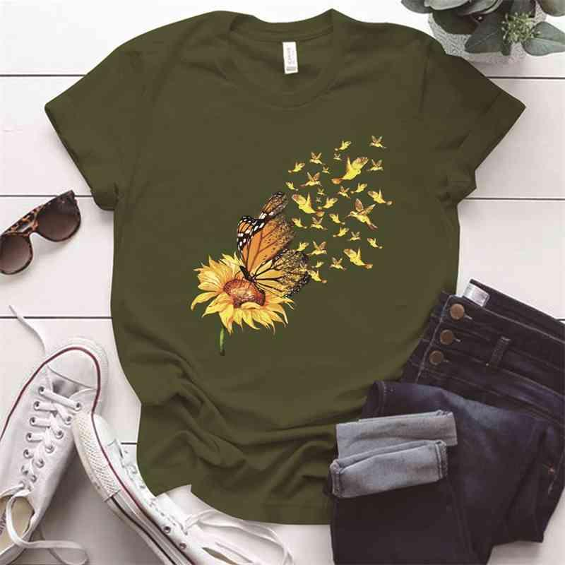Vintage Zonnebloem Vlinder Afdrukken Vrouw Plus Größe O-Hals Esthetische Femme T-shirts S-5XL Zomer Vrouwen Tops Ropa Mujer
