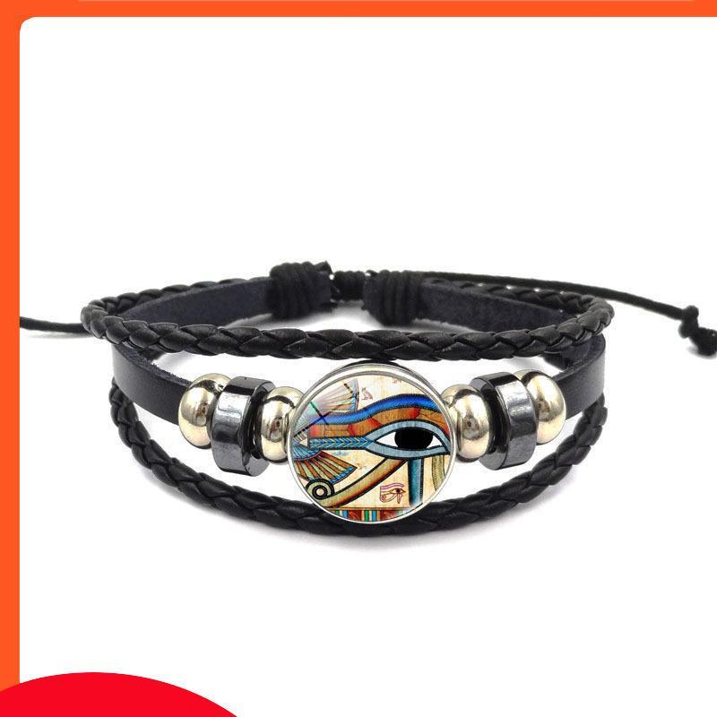 Bracelet tissé en cuir de nouveau temps d'horus