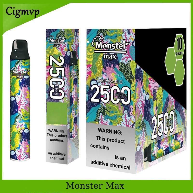 몬스터 맥스 2500 퍼프 전자 담배 일회용 펜 패션 디자인 및 대용량 포드 키트 10 색 VS 바 플러스