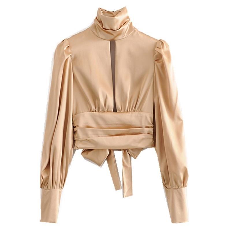 Sonbahar Zarif Dantelli Pileli Yarık Backless Ipek Gömlek Kayısı Moda Yüksek Yaka Kravat Yay Bluz Kadınlar Seksi Blusas Tops 210402
