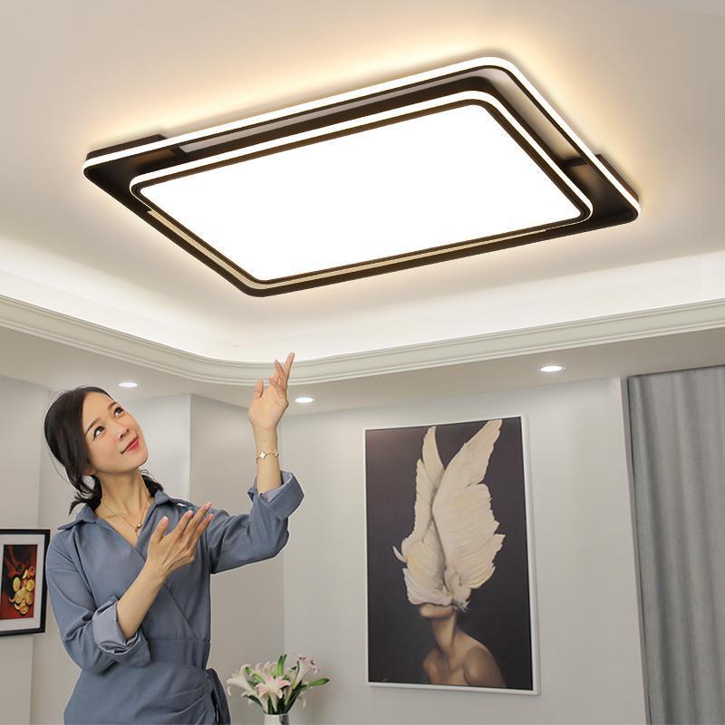 원격 제어 사각형 검정 거실 침실 주방 홀 아크릴 디 밍이 가능한 매달려 램프와 현대 LED 천장 조명