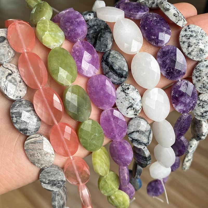 Perlas de piedra ovaladas naturales 13 * 18 mm Facetorado Púrpura Angelita Amatistas Jasperjos de cuarzo sueltos para joyería Fabricación de bricolaje Otros