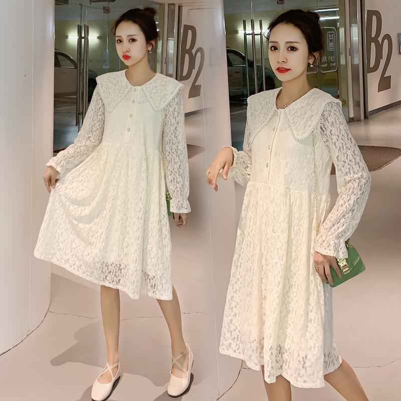 3183# Maternity Clothes Lace Nursing Dress Spring Autumn Loose Stylish Breastfeeding Dresses