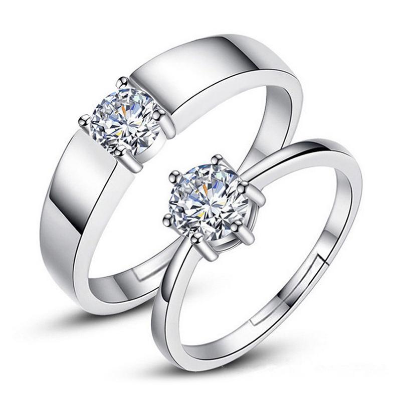 J152 S925 Sterling Silber Paar Ringe mit Diamant Mode Einfache Zirkon Paar Ringschmuck Valentinstag Geschenk Dropship