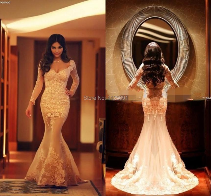 Party Dresses 2021 Fashion Luxury Elegant Full Sleeve Mermaid Evening Lace Appliques Long Prom Vestido De Festa Longo