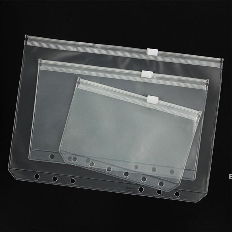 A5 / A6 / A7 PVC Binder Kapak Temizle Fermuar Saklama Çantası 6 Delik Su Geçirmez Kırtasiye Çanta Ofis Seyahat Taşınabilir Belge Çuval DHC7627