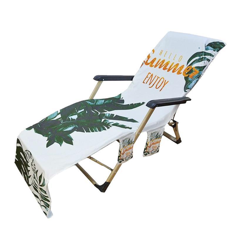El no correnecimiento al aire libre silla de playa cubierta de vacaciones Patio Pool Pool Tomar el sol Soft Superfine Fibra con bolsillos para cubiertas de tumbona