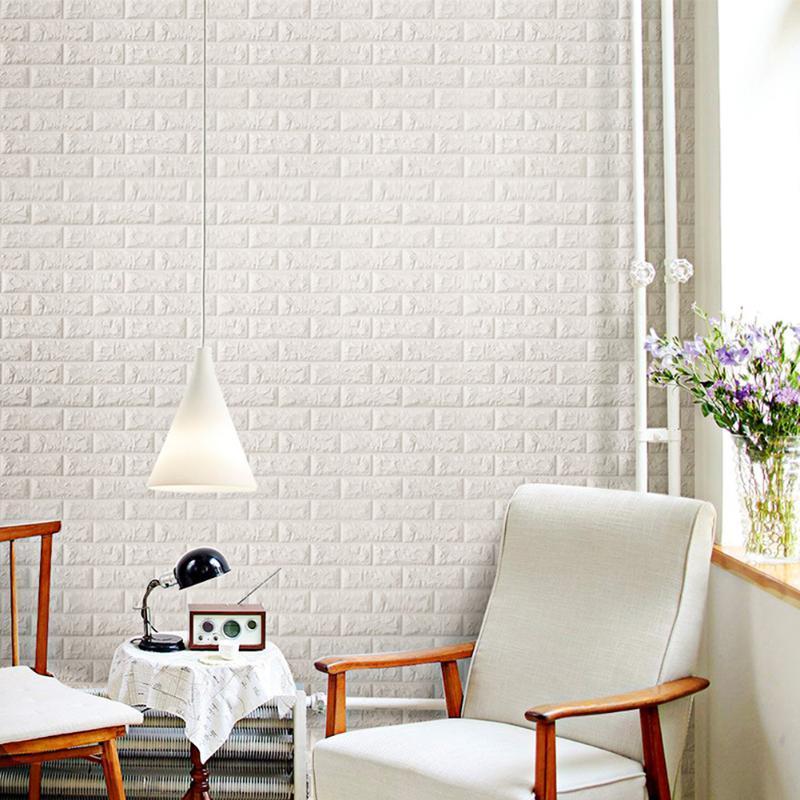 4шт Домашний декор 3D 3D пена наклейки на стену бумаги кирпичная камень обои 77x70см самоклеящийся ванная комната кухня фон обои