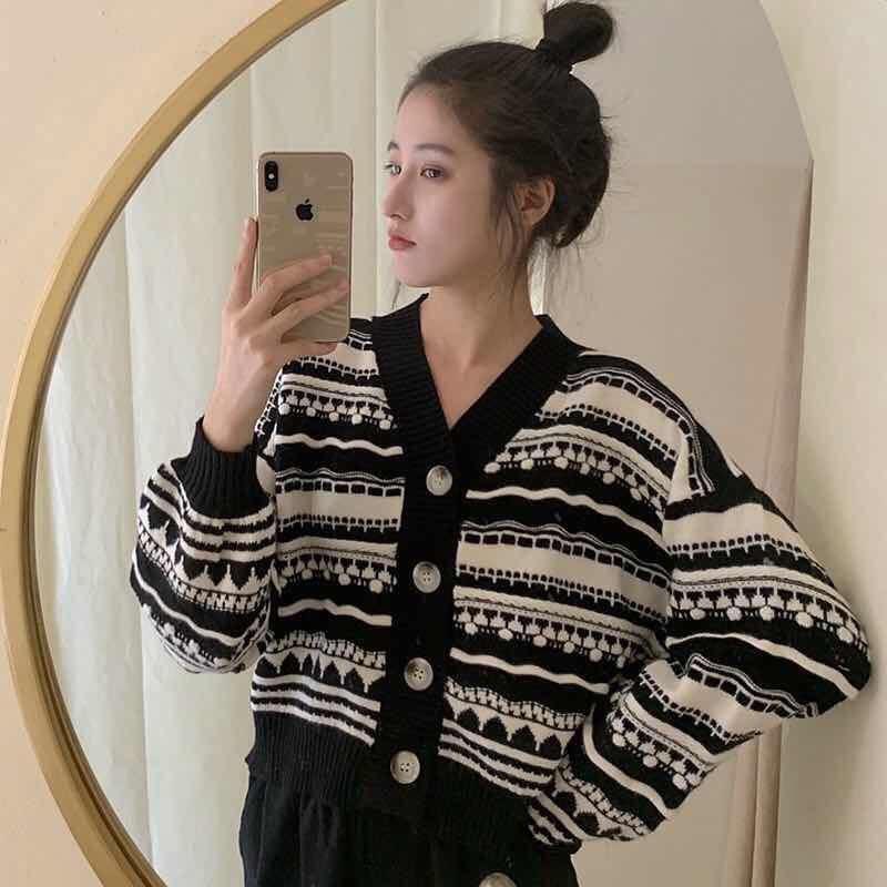 한국식 여성 Gilrs 기하학적 패턴 카디건 스웨터 느슨한 랜턴 슬리브 V 넥 싱글 브레스트 니트 여성용 니트 티셔츠