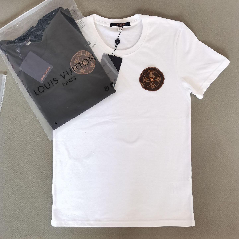 Di 2021 lujia nueva industria pesada bordado de algodón manga corta camiseta para hombre