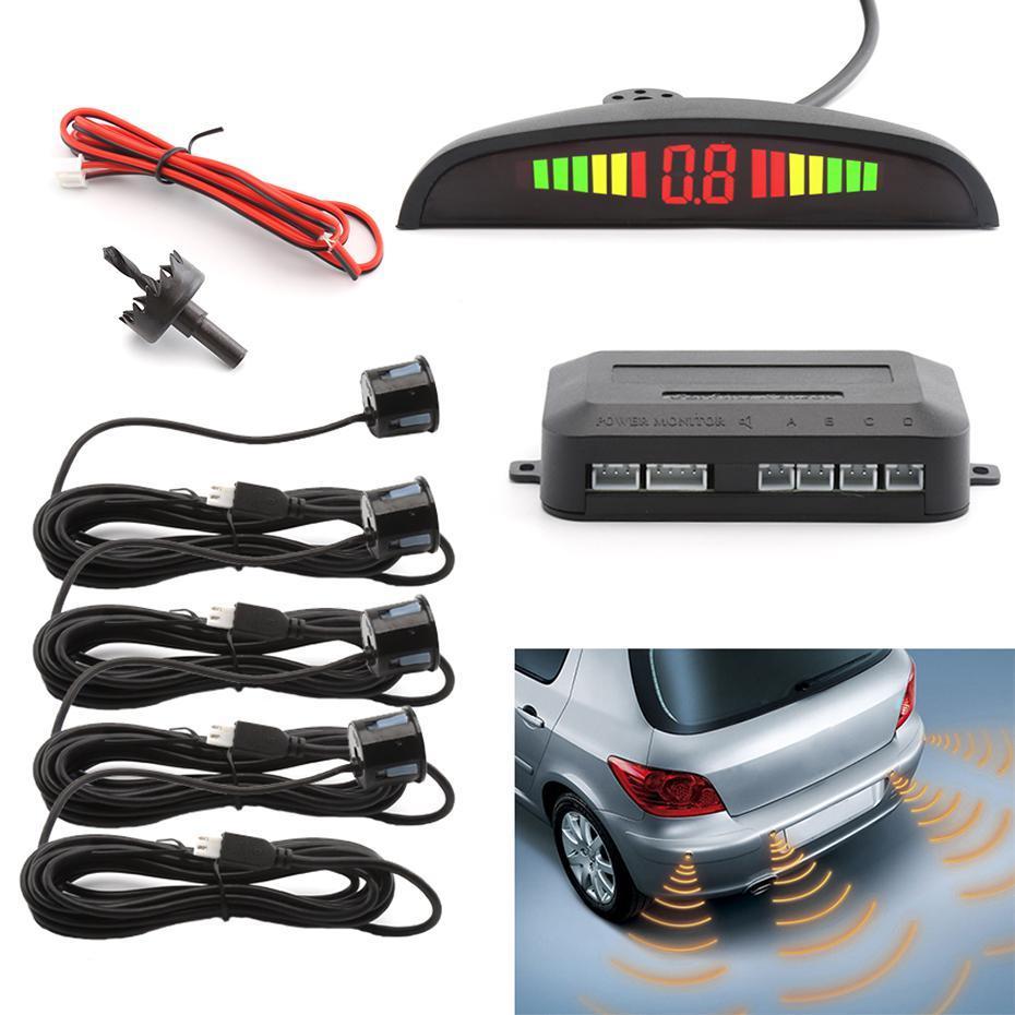 2021 Car LED Parking Sensor Assistance Reverse Backup Radar Monitor System Backlight Display+4 Sensors