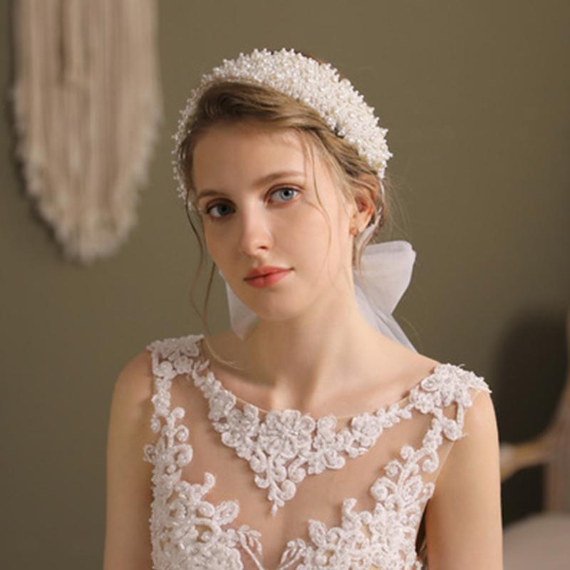 Haarklammern Barrettes Hochzeit Stirnband Breite Retro Perle Stil Band Mesh Headwear Für Bridal Prom Accessoire 2021