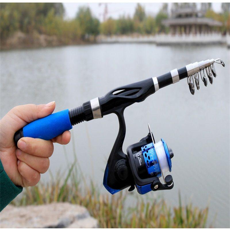 1.1M 1.3M 1.5M portable télescopique canne à pêche en fibre de la fibre de pêche à la fibre de pêche tige de pêche pôle de pêche voyage 1470 z2